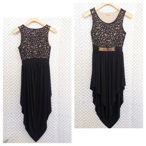 Fashion magazine high low belter lace dress